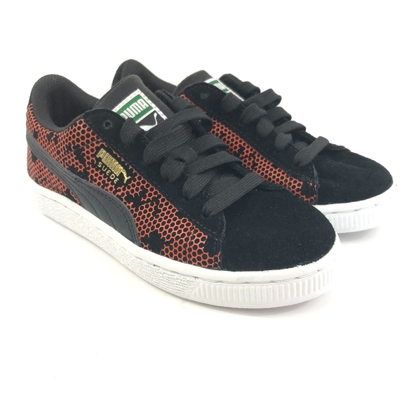 Puma Black Suede Mandarin Red Camo Sneakers NWT